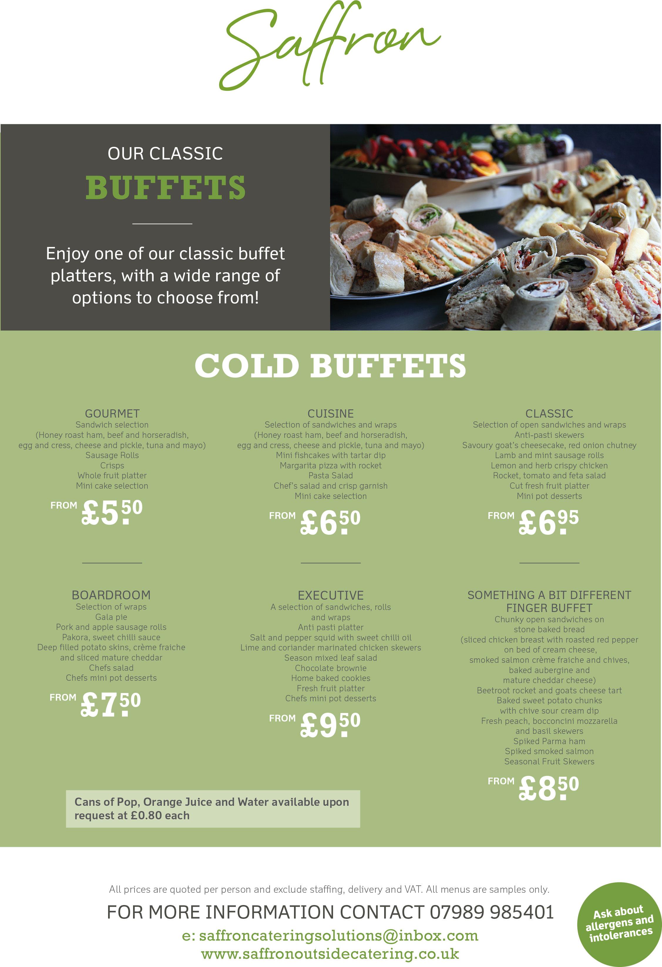 Cold Buffets Menu