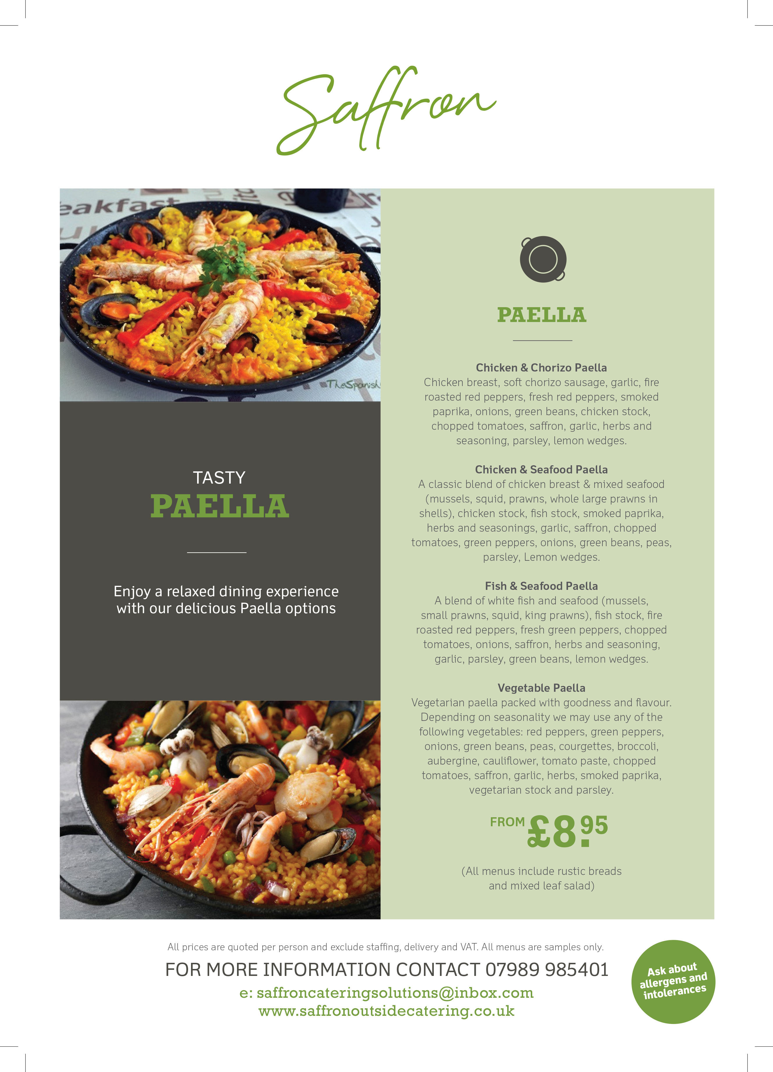 Paella Menu