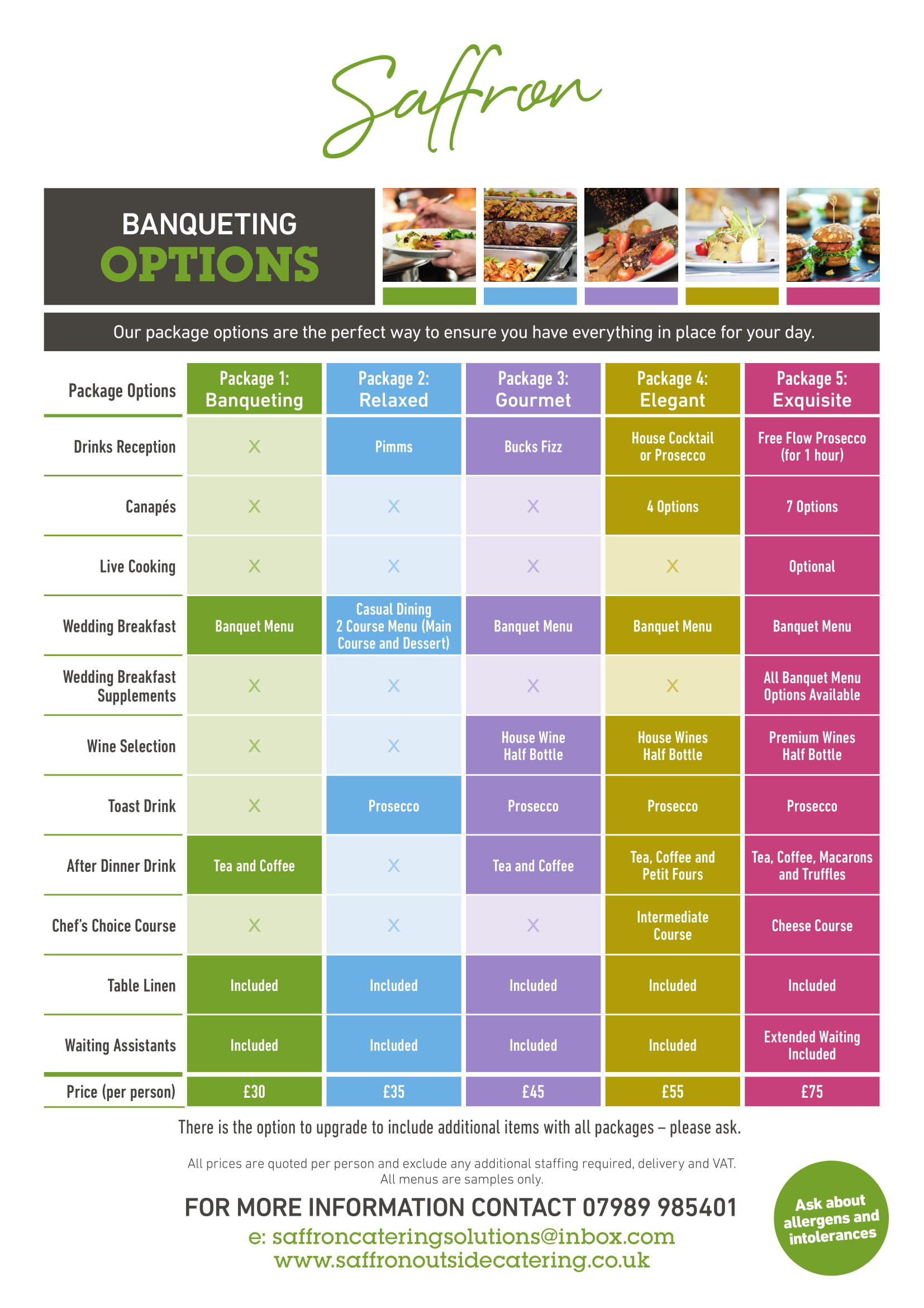 SAFFRON BANQUETING PACKAGES - Banqueting Packages