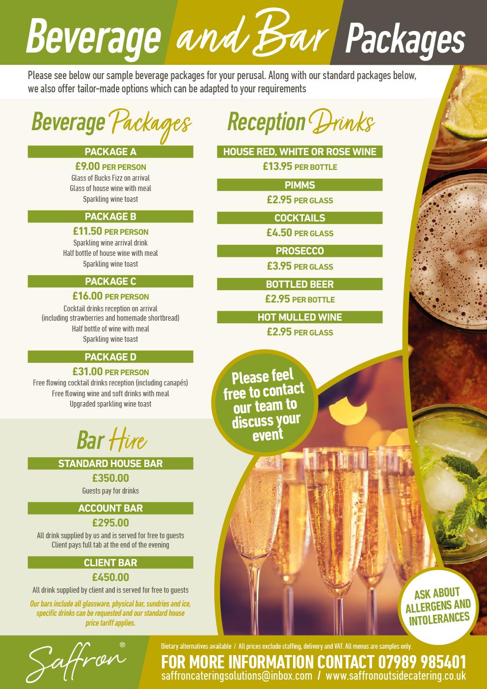 Saffron Menu Beverage Bar - Beverage and Bar