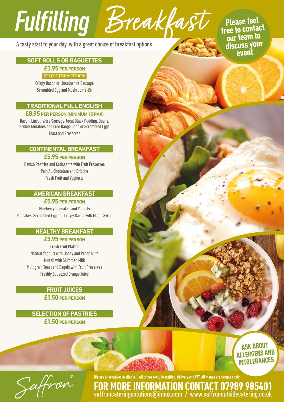 Saffron Menu Breakfast - Breakfast