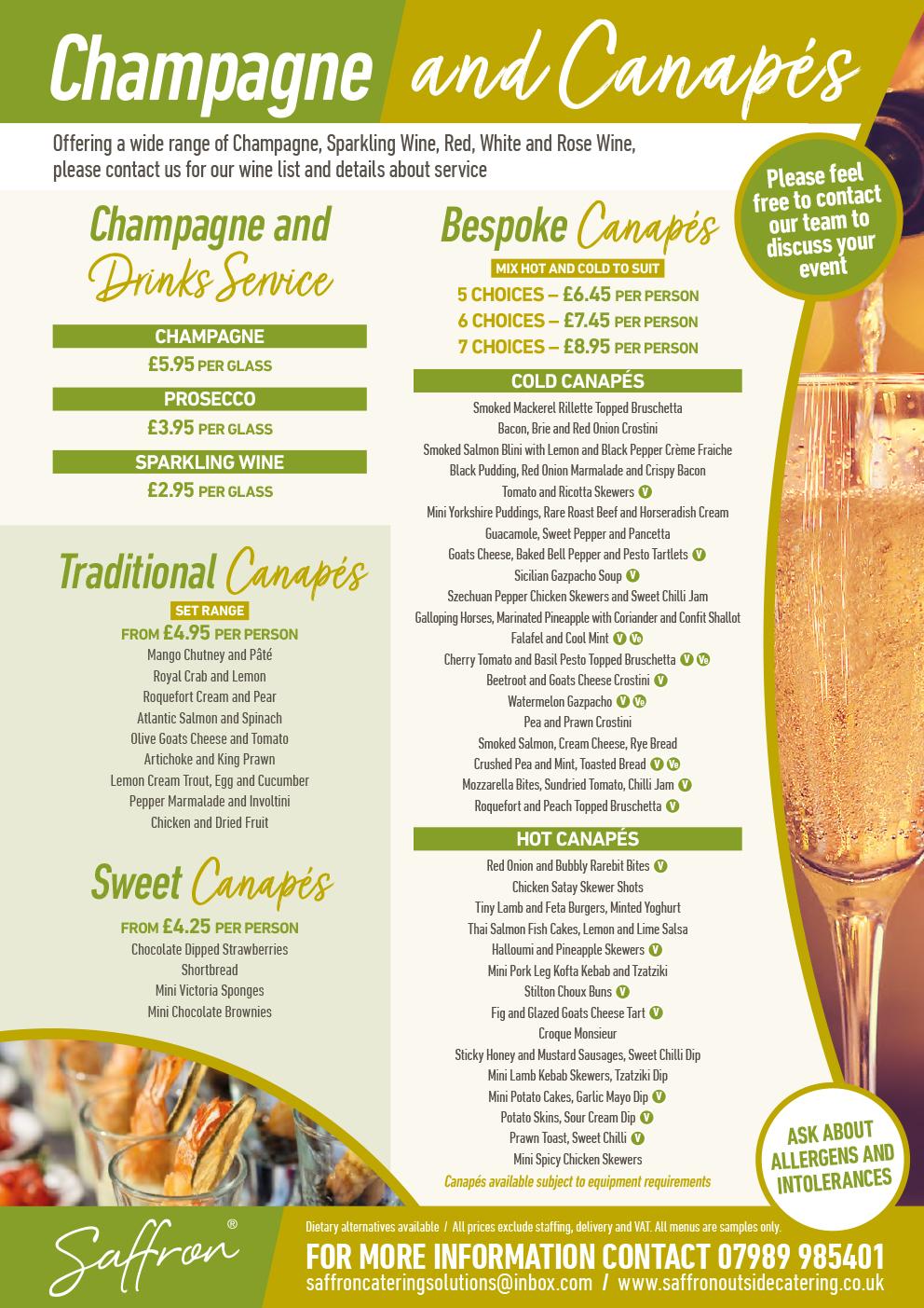 Saffron Menu Champagne Canapes - Champagne and Canapes