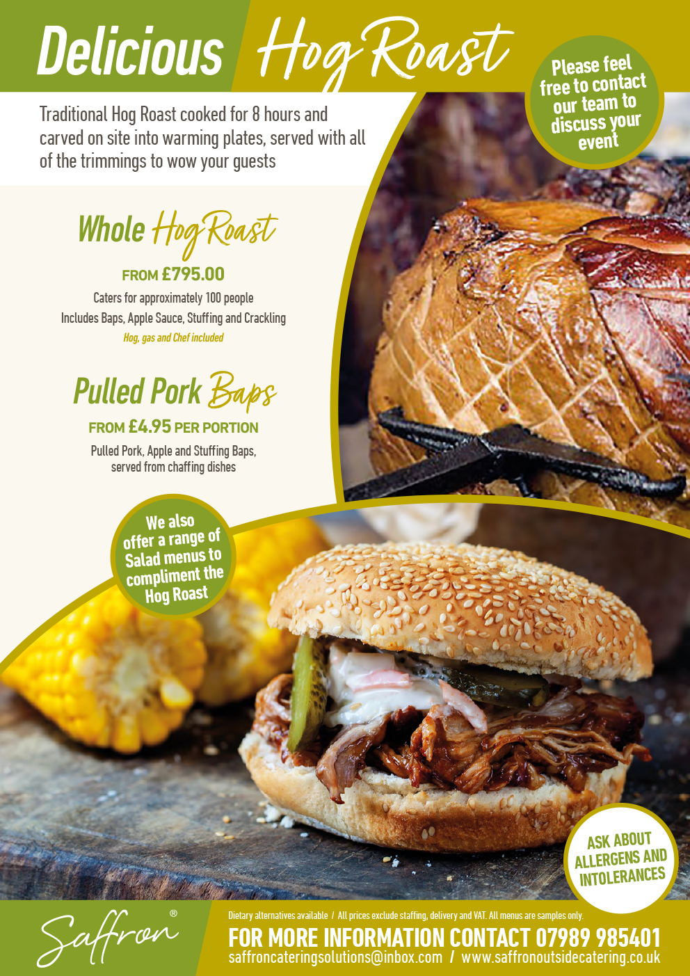 Saffron Menu Hog Roast - Hog Roast Menu