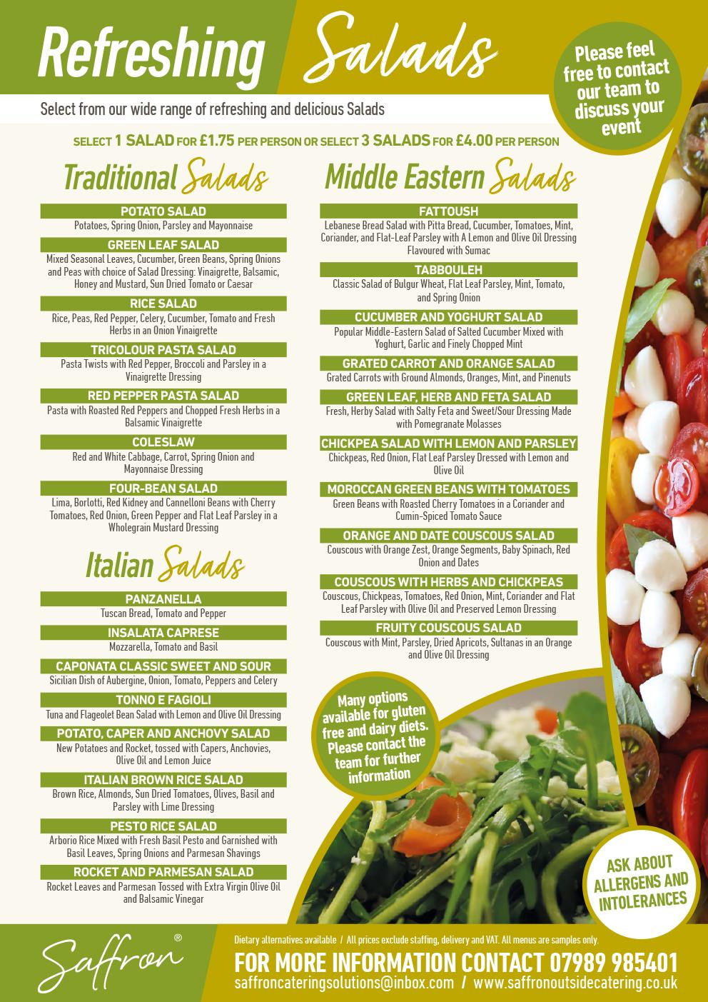 Saffron Menu Salads 1 - Salads Menu