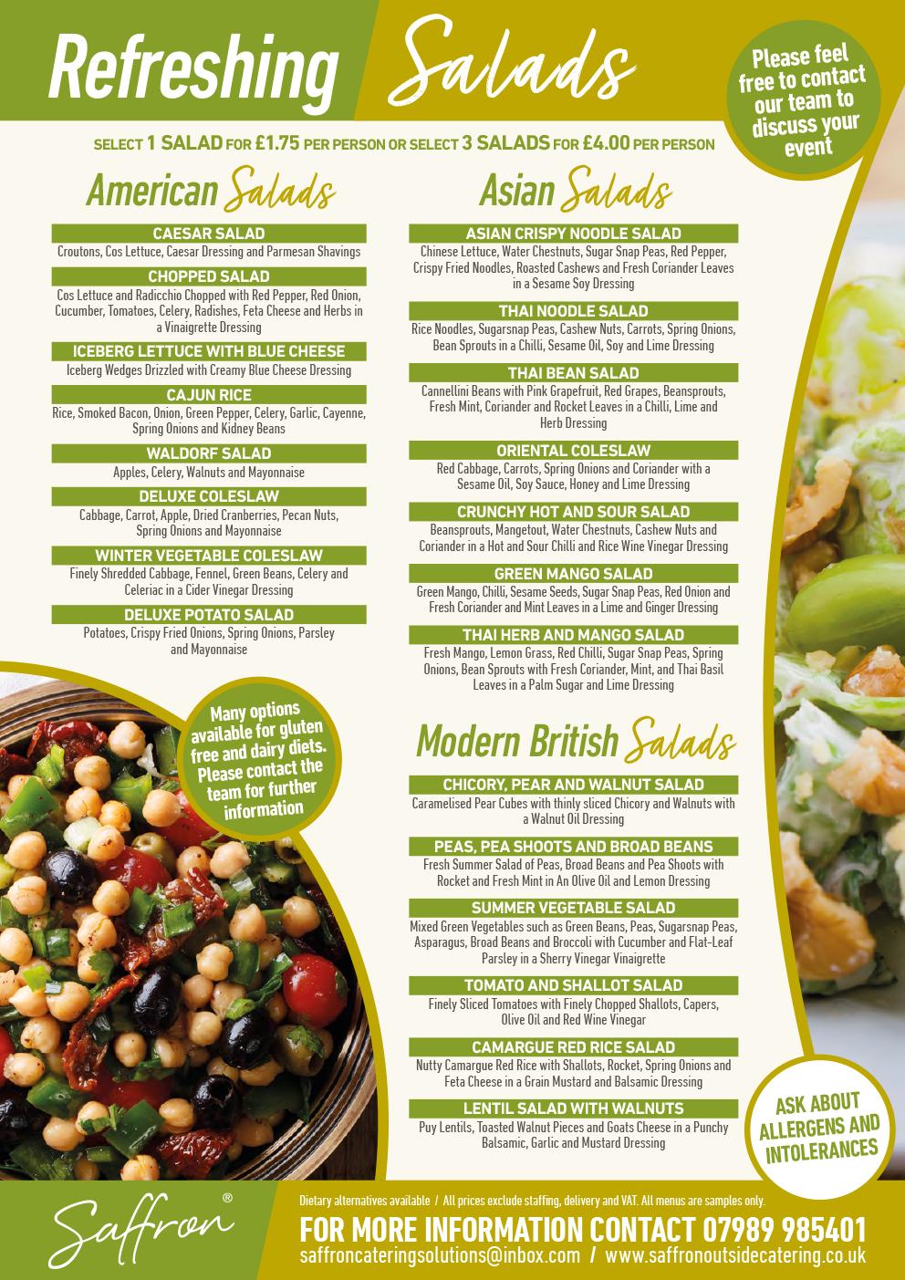 Saffron Menu Salads 2 - Salads Menu