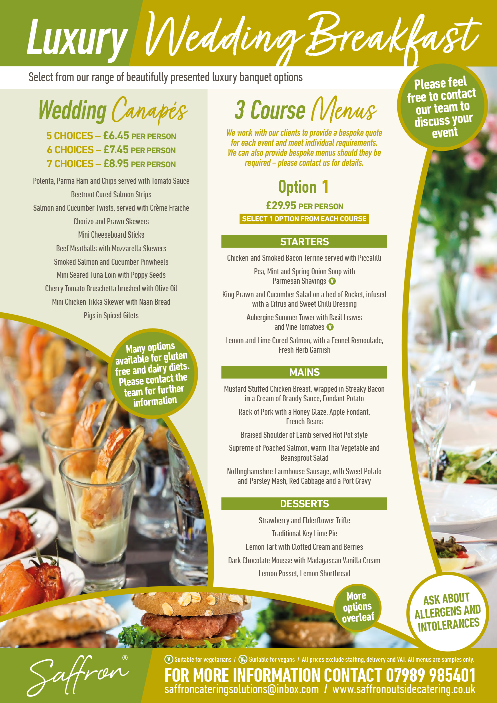 Saffron Menu Wedding Breakfast 1 - Wedding Breakfast Menu