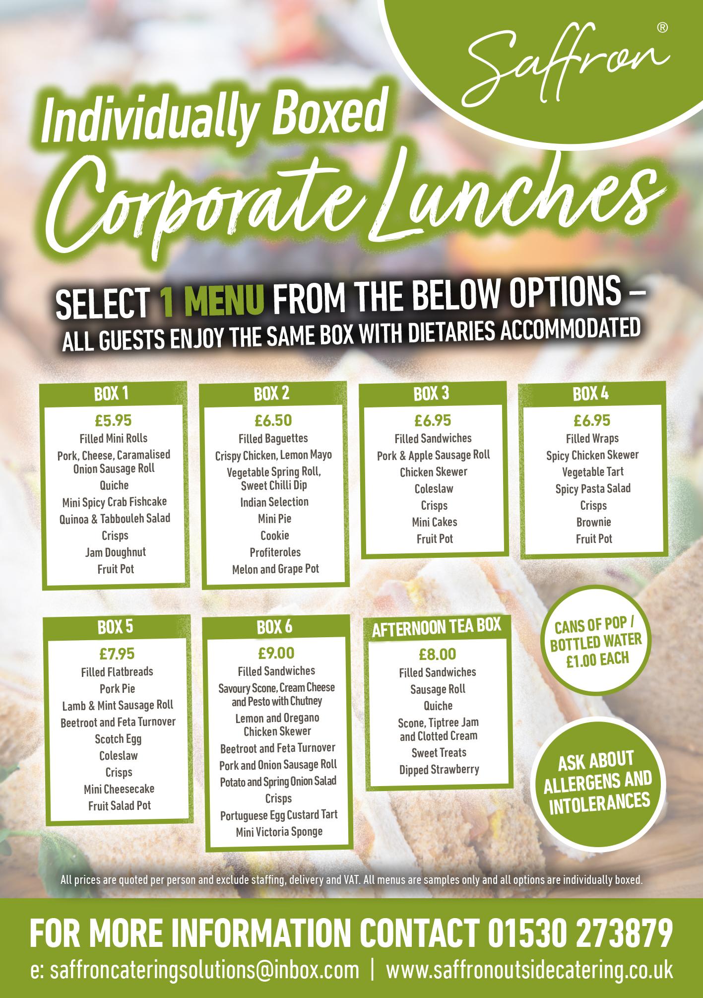 Saffron Corporate Menus Flyer Jun 21a - Corporate Lunches